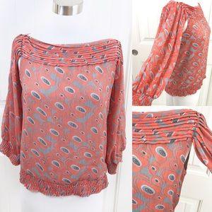 BCBG Orange Boho Peasant Top Cutout Underarm Shirt